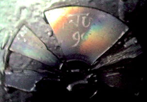 Close-up photograph of the shattered CD on the back of Ju's brace, reflecting rainbow colours
