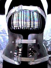 Photograph of Ju's spinal brace viewed from in front